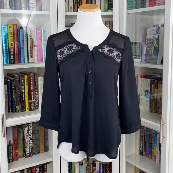 American Eagle Black Lace Detail Pullover Blouse